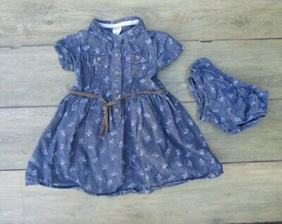 a83eb613e Carters Baby Girl Dress Jean Denim Floral Western Cowgirl Tie Rope Belt 2pc  12M