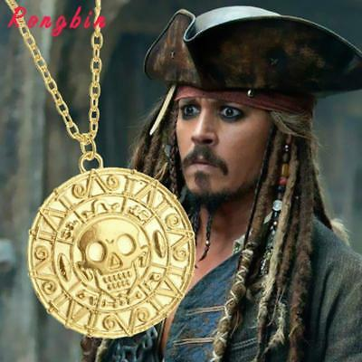 Gold Medallion Necklace Vintage The Bronze Pendant Of Coin Pirate Silver