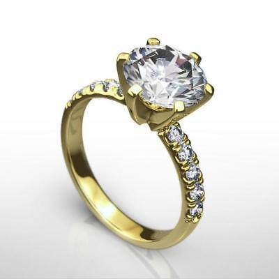 Certified 6 Prong Diamond Ring Round Brilliant Estate 1 1/2 Ct 18K Yellow Gold