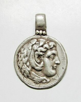 "Ancient Silver Greek Legionary Pendant. "" ALEXANDER THE GREAT """