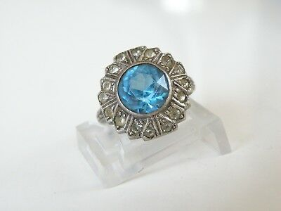 Antique Victorian Era Sterling Silver 925 Sapphire Blue Glass Ring Size 6