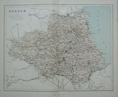 1868 Map England ~ Durham South Shields Sunderland Hartlepool Wolsingham