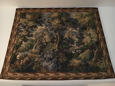Antique French Wool 19th Century Aubusson Tapestry, 5 X 6 Feet
