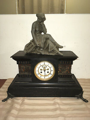 ANTIQUE ANSONIA SLATE FRENCH OPEN ESCAPEMENT MANTLE CLOCK w/BRASS STORY PLATES