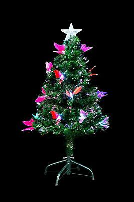 3ft 90cm christmas tree fiber optic pre lit xmas tree with butterfly led lights