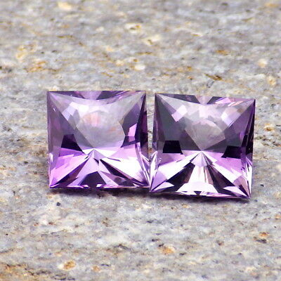AMETHYST-BRAZIL 4.67Ct TW FLAWLESS-PERFECT MATCHING PAIR-AMAZING NATURAL COLOR!