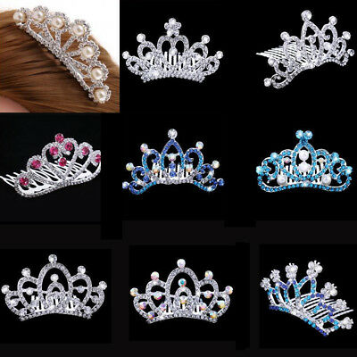 Princess Crystal Mini Hair Crown Tiara Hair Comb Girls Woman Wedding Party Favor