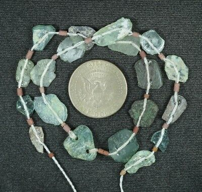 Ancient Roman Glass Beads 1 Medium Strand Aqua And Green 100 -200 Bc 861