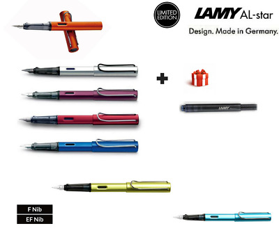 New Lamy AL-STAR SERIES aluminum fountain pens Free ink cartridge Nib option