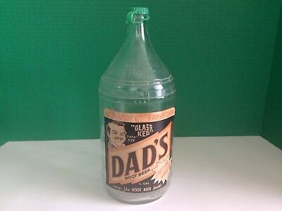 "Vintage Dad's Root Beer Bottle Paper label ""Papa"" Size 1/2 Gal Clear with Cap"