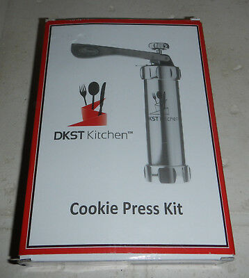 NEW DKST Kitchen Stainless Steel Gun Cookie Press Kit 20 Discs & 4 Icing Tips