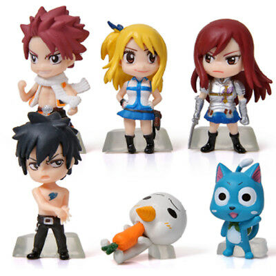 Fairy Tail Lucy Natsu Erza Gray Painted Anime 6 PCS Cake Topper Figure Kids Toy