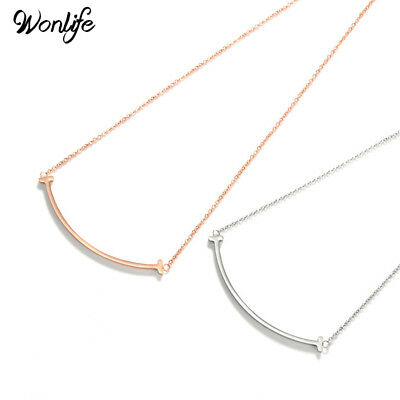 Stainless Punk Short Steel Arc Bar Clavicle Chain Empty Necklace Smile Bent Tube