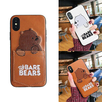 Cute Cartoon Bears Embroidery Pocket Soft Case Cover For iPhone X XS Max 8 7 6