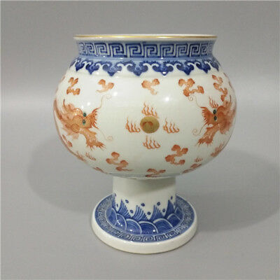Great Chinese Antique Blue White Alum Red Porcelain Dragon Vase