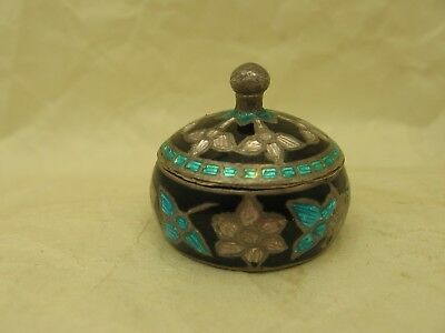 Vintage Chinese 925 Silver Cloisonne Lidded Miniature Box