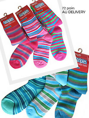 72 pairs of kids Striped terry winter  Cotton Socks Size 3-7 year