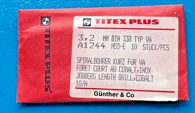 Titex plus 10 Pieces Twist Drill Bit short 3,2 mm for VA Din 338 Typ-Va A1244