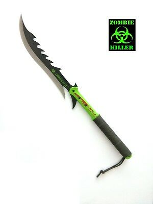 "27"" Biohazard ""Zombie Killer"" Machete Black Handle with Two Tone Blade"