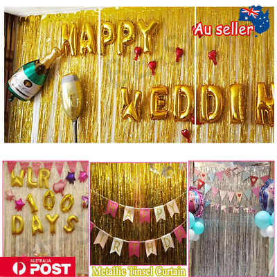 2/3M Metallic Tinsel Curtain Foil Backdrop Wedding Birthday Hens Party Decoraton