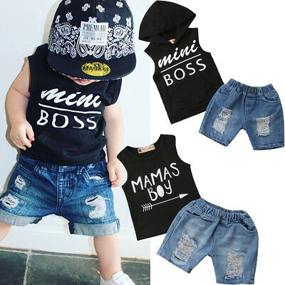 US Newborn Kid Baby Boys Hoodie Tops T-shirt Vest+Denim Short Pants Set 1-5T