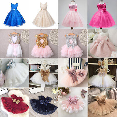 Baby Girls Sleeveless Kids Bow Sequins Tulle Tutu Party Wedding Princess Dress
