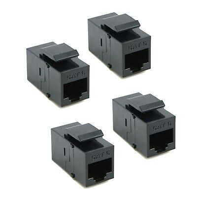 4 x CAT6 RJ45 Keystone In-line Coupler Extender Adapter Wall Plate Patch Panel