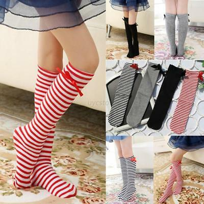 AU 3-12T Baby Girls Warmer Soft Leg Stockings Toddlers Striped Knee High Socks