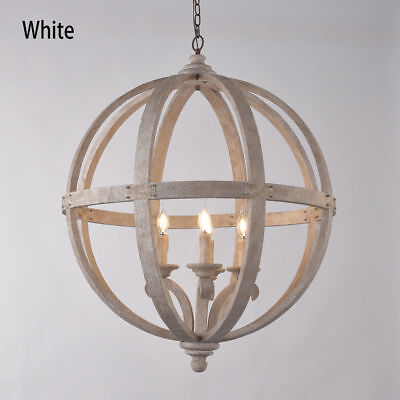Rustic Wooden Globe Chandelier Vintage 4 Candle Style Bulb Ceiling Pendant Light