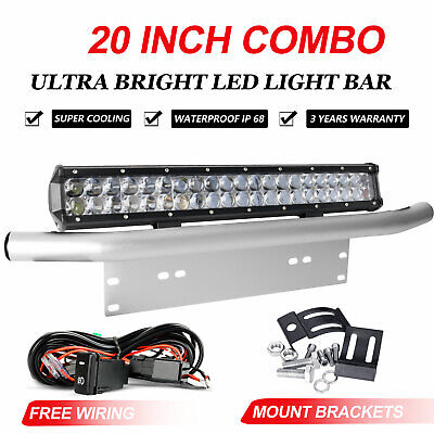 "20 inch Tri-row CREE LED Light Bar + 23"" Silver Number Plate Frame Mount Bracket"