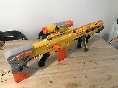 Nerf N-Strike Longshot CS-6 Inc Scope, Bipod and 2 x magazines In Good Condition