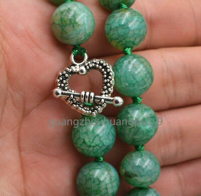 "New Green 12mm Dragon Vein Agate Necklac 18"" Tibetan Silver Love Clasps"