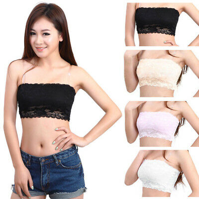 Women Ladies High-Elastic Lace Strapless Seamless Bandeau Bra Boob Tube Comfort