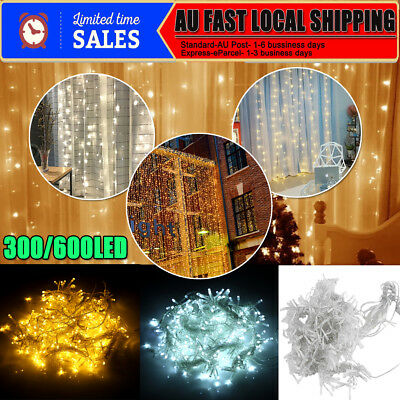 300/600/880 LED Waterproof Fairy String Window Curtain Light Party 3x3M 6X3M AU