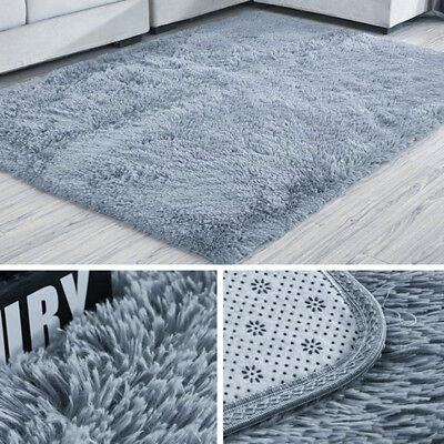 Anti-Skid Soft Fluffy Rug Shaggy Area Mat Bedroom Living Room Carpet Floor Rugs