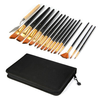 15pcs Artist Brush Set Acrylic Oil Watercolor Paint Nylon Brushes Kit Bag AC790
