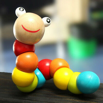 Kids Cute Puzzle Educational Wooden Toys Baby Jigsaw Flexible Gift Twisting Worm