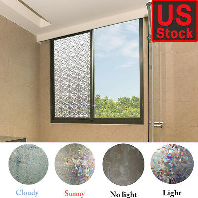 3D Frosted Glass Film Static Cling Office Bedroom Bathroom Home Window Tint Deco