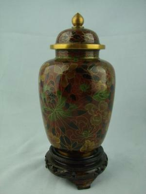 20th CENTURY WIRE CLOISONNE ENAMELLED GINGER JAR / LIDDED URN WITH WOODEN BASE
