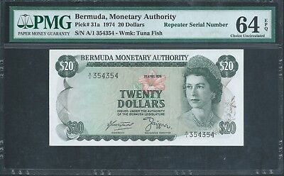 BERMUDA $20 P31a 1974 Rare date Repeater number PMG 64 EPQ (TOP POP!)