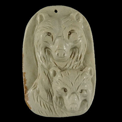 Stunning  Hand-carved Bear Mommy & Baby Picture Jasper Pendant Bead 1 Pcs