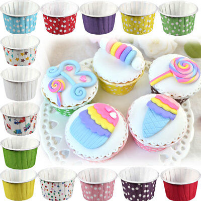 UK 100Pcs Paper Baking Cups Polkadot Cases Cupcakes Muffins Liner Holder Decor