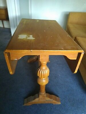 Antique Timber Drop Side Table with Ornate Legs - Vintage Wooden Extendable Desk