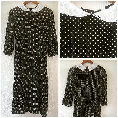 Vtg 80s Melia Of England Black & White Spotted Dress Lace Peter Pan Collar UK10