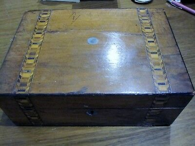 "Genuine Antique Jewelry Box Beautiful Victorian Parquetry.  "" Made In England """