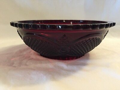 "Avon 1876 Cape Cod Collection Ruby Red Serving Bowl  8.5"" diameter"
