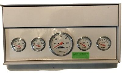 "Auto Meter 5"" Arctic White 5 Piece Gauge Set Fuel, Oil, Speedometer, Volt, Water"