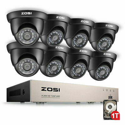 ZOSI CCTV System 8CH 1080N DVR 8 Dome Camera Home Security System 1TB HDD
