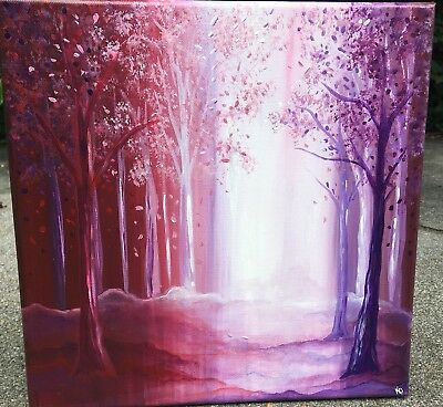 original oil painting on canvas 7.1x9.5/'/' Christmas gift fantasy landscape fairy art mini oil painting of magic tree Fantasy painting