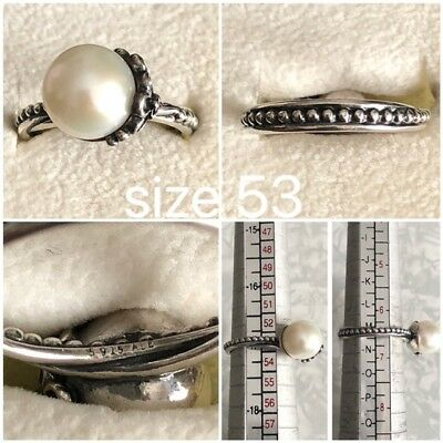 Pandora Fresh Water Cultered Pearl Ring Size 53 Ref 190848P Discontinued